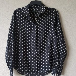 J. Crew Tops - J. Crew Black/Cream polka dot button down top S